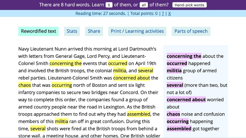 Screen capture of text with highlighted words and alternate phrasing.