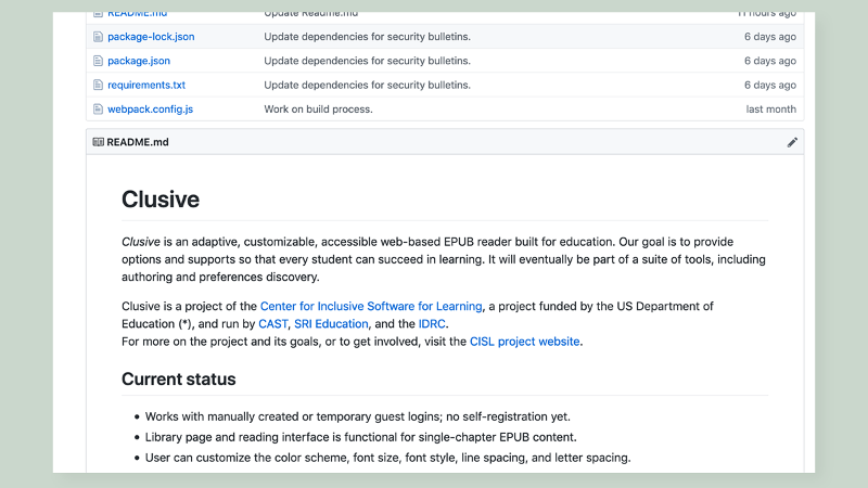 screen grab of the Clusive GitHub page. Shows text and links to open-source code for the Clusive tool.