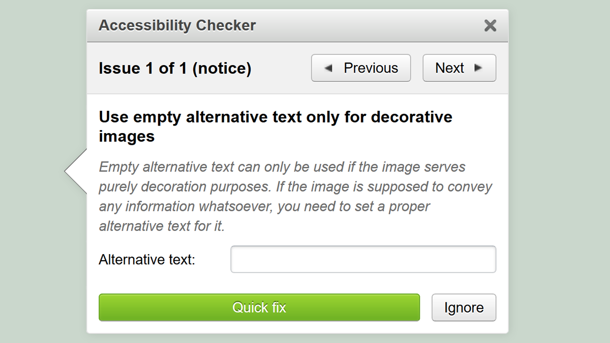 screenshot of OER Commons accessibility checker
