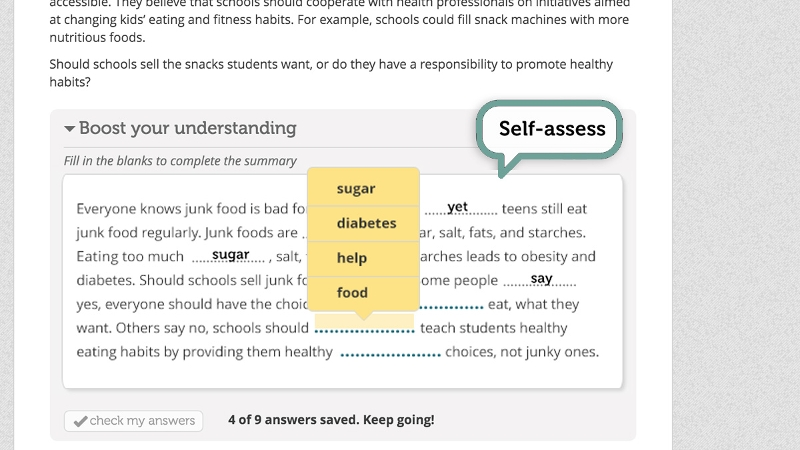 A screen grab of an embedded comprehension check in a digital reading environment.