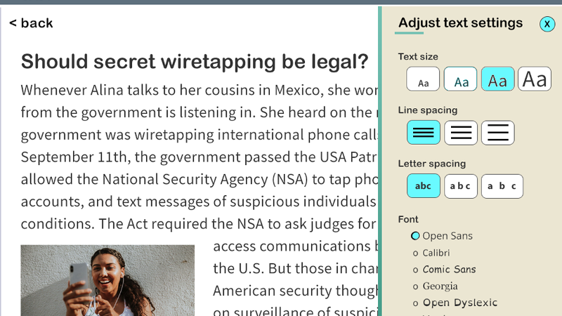 A tab for adjusting text settings including text size, line spacing, letter spacing, and font pops up over an article in a digital reading environment.